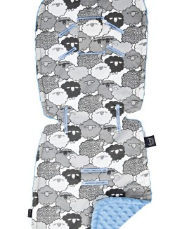 STROLLER PAD - GRAPHITE SHEEP FAMILY - SKY