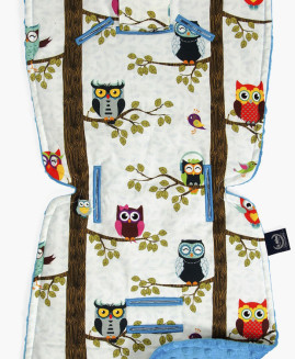 BY ANNA MUCHA - STROLLER PAD - OWL RADIO - TURQUOISE