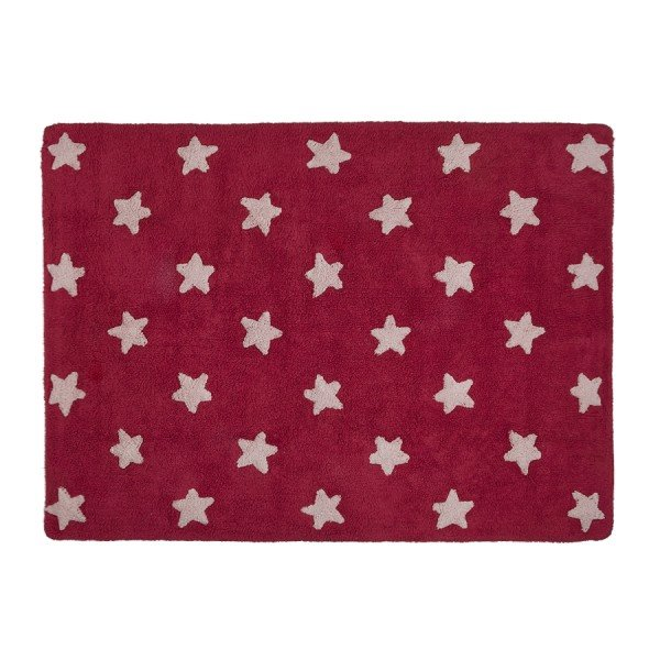 Teppich Washable Baumwolle Stars Rot Weiss 120x160 Lullaby