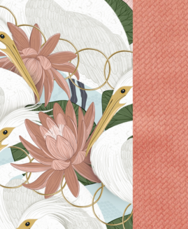 VELVET COLLECTION - KOC, NARZUTA 140 x 200 cm - HERON IN PINK LOTUS - PAPAYA